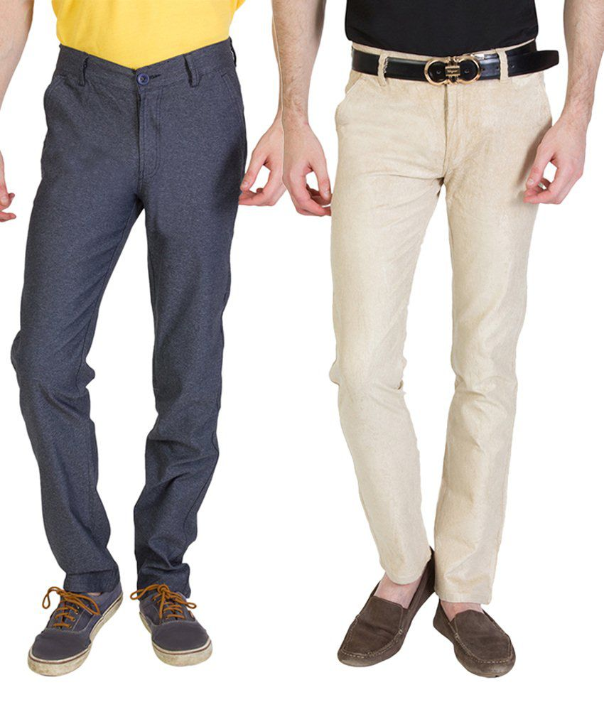 Bloos Jeans Trendy Combo Of Beige Chinos & Gray Trousers For Men