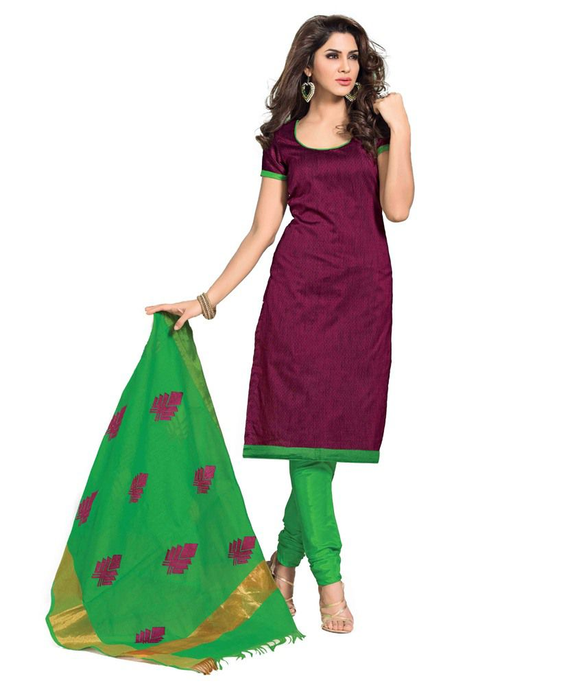Aquatex Maroon Embroidered Chanderi Dress Material