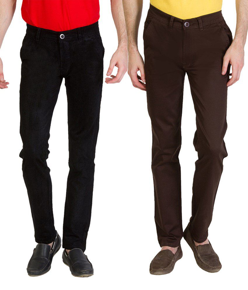 Bloos Jeans Classic Combo Of 2 Black Chinos For Men