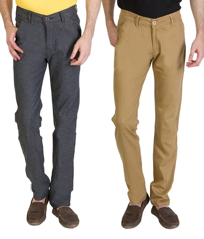 Bloos Jeans Combo Of 2 Beige & Gray Trousers For Men