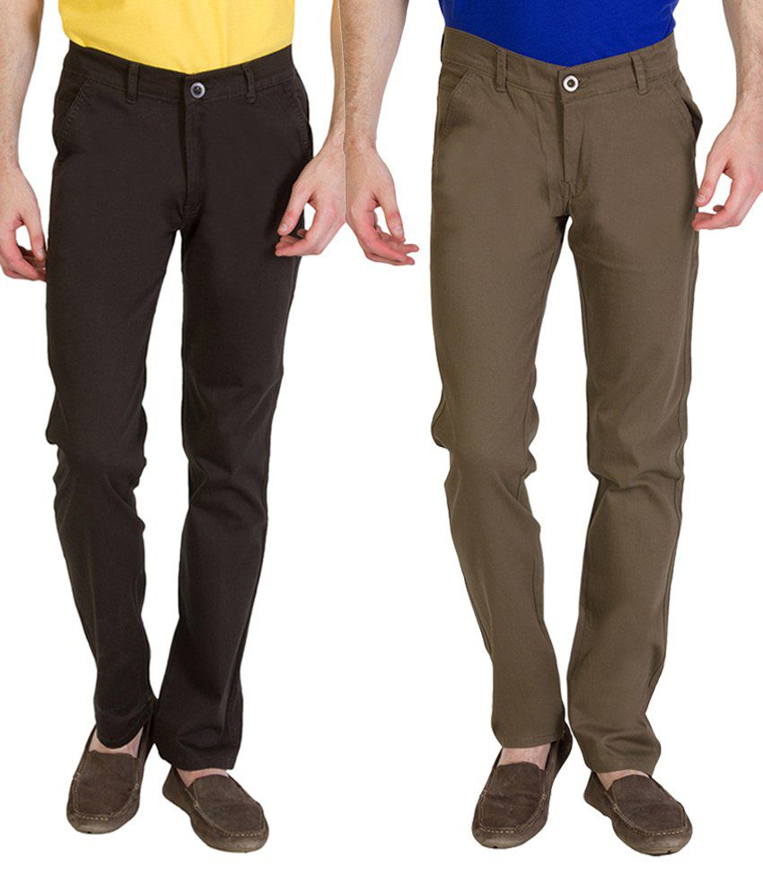 Bloos Jeans Combo Of 2 Khaki & Gray Chinos For Men