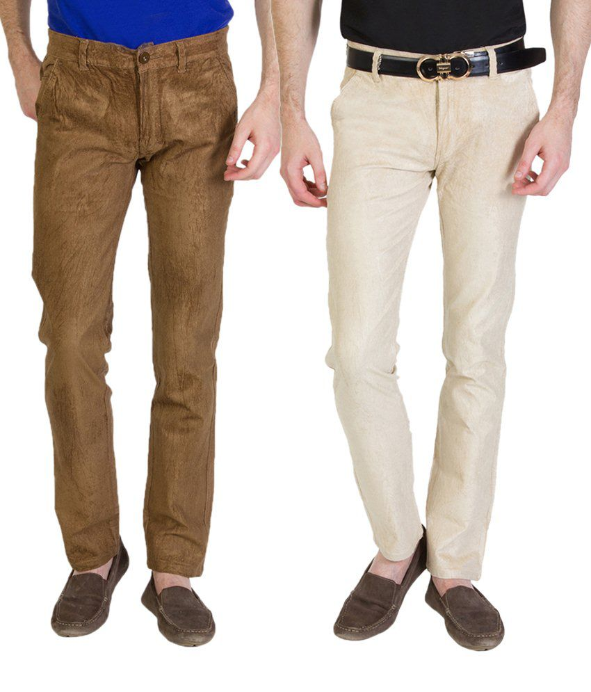 Bloos Jeans Combo Of 2 Brown & Off White Chinos For Men