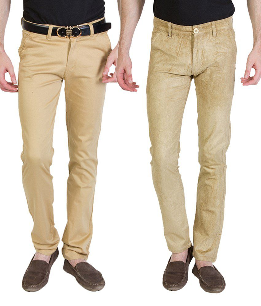 Bloos Jeans Combo Of Beige Chinos & Beige Trousers For Men