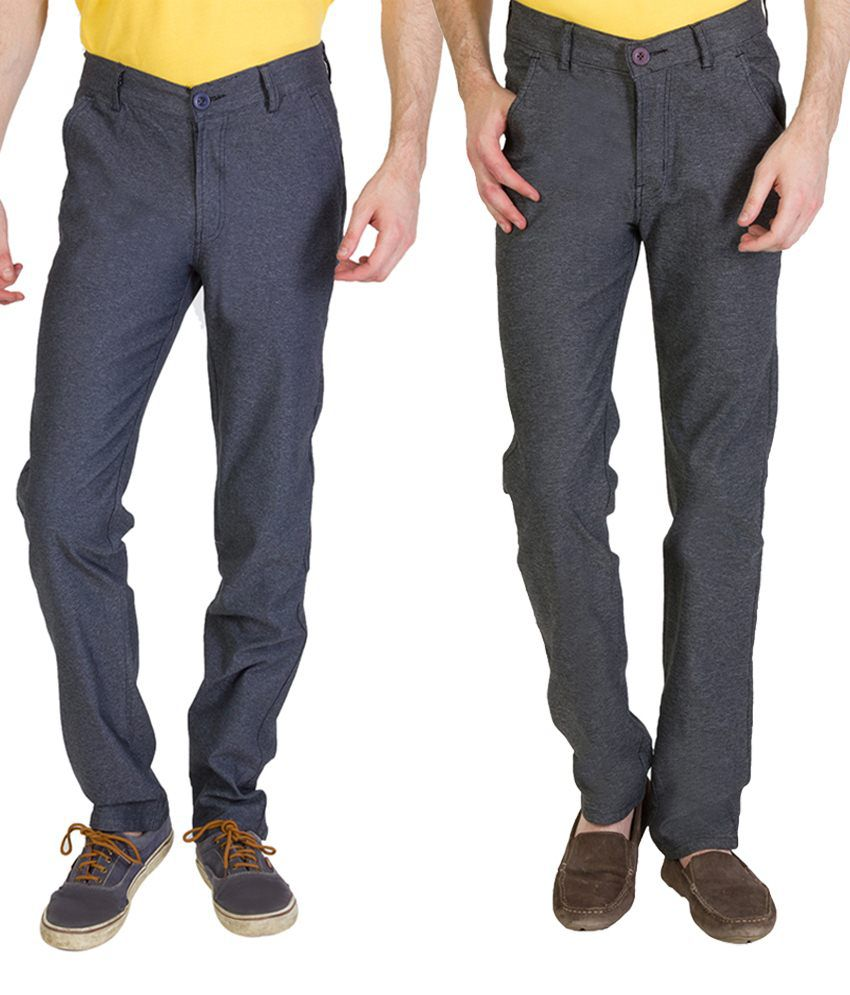 Bloos Jeans Comfortable Combo Of 2 Navy Chinos For Men