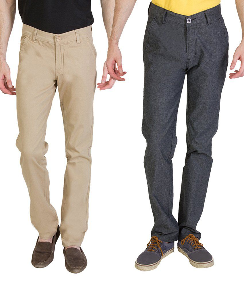 Bloos Jeans Enduring Combo Of 2 Beige & Gray Chinos For Men