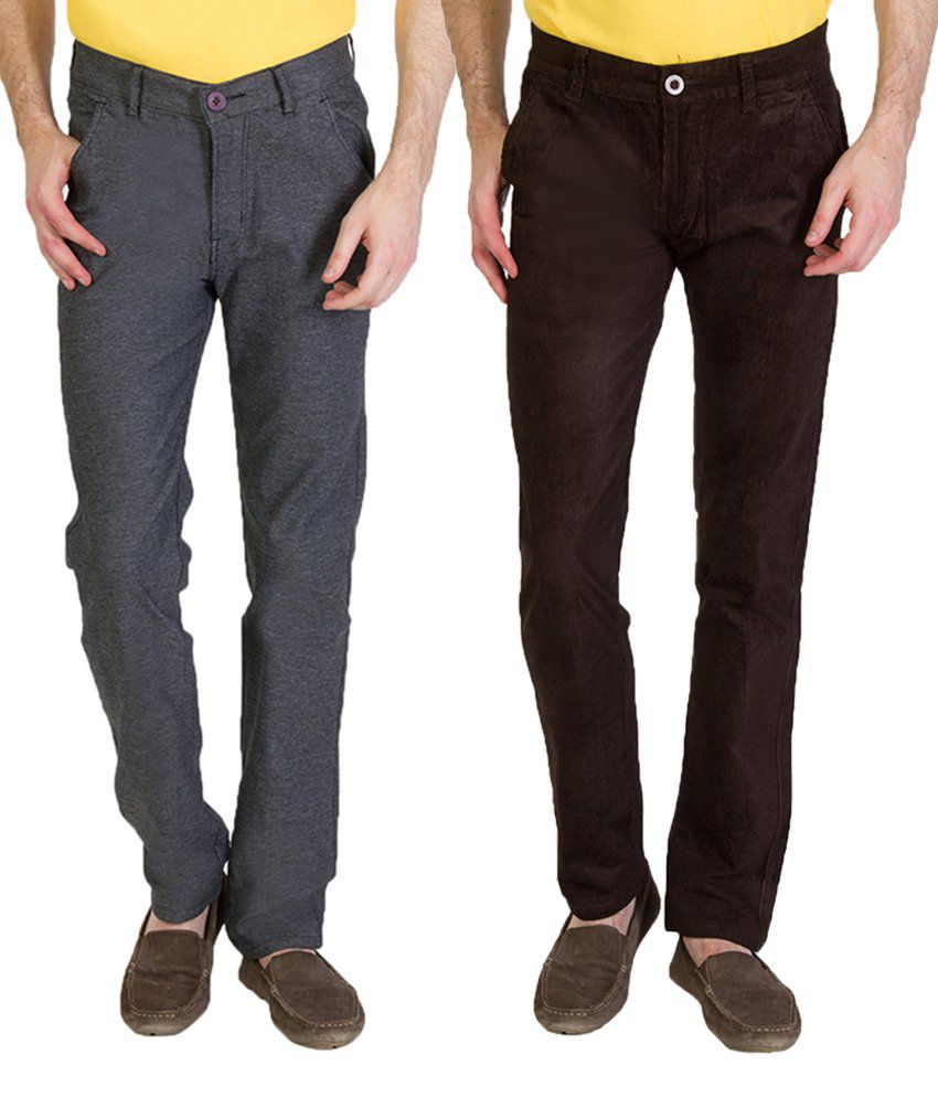 Bloos Jeans Exclusive Combo Of Brown Chinos & Gray Trousers For Men
