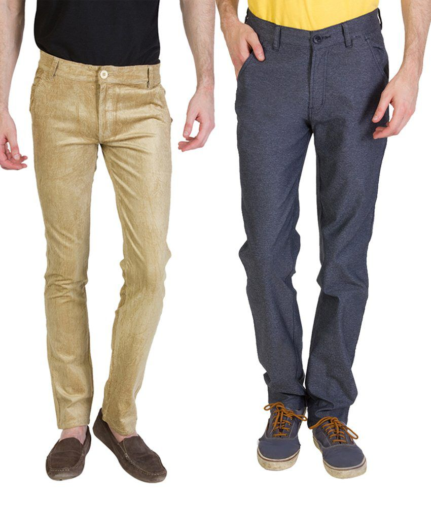 Bloos Jeans Incredible Combo Of 2 Gray & Brown Chinos For Men