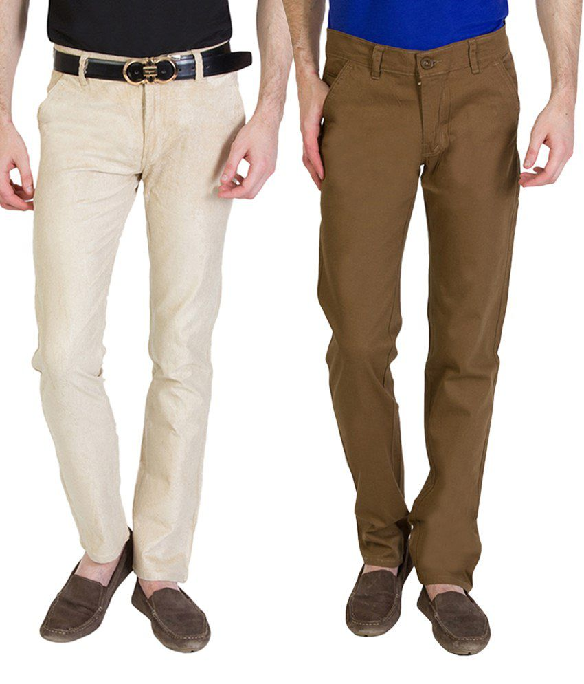 Bloos Jeans Outstanding Combo Of 2 Beige & Brown Chinos For Men