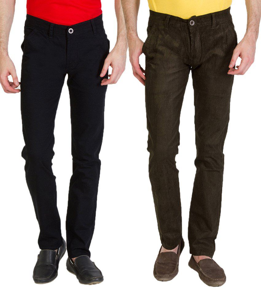 Bloos Jeans Outstanding Combo Of 2 Khaki & Brown Chinos For Men