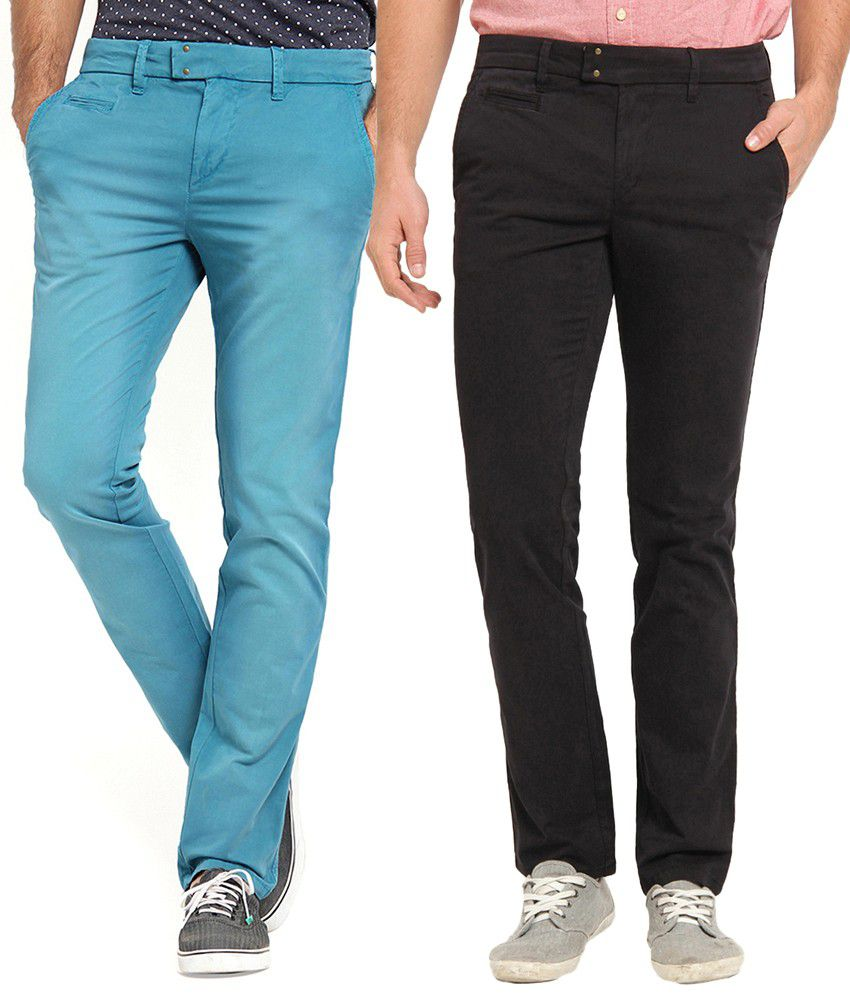Offline Cotton Blue & Black Casual Slim Chinos (Pack of 2)