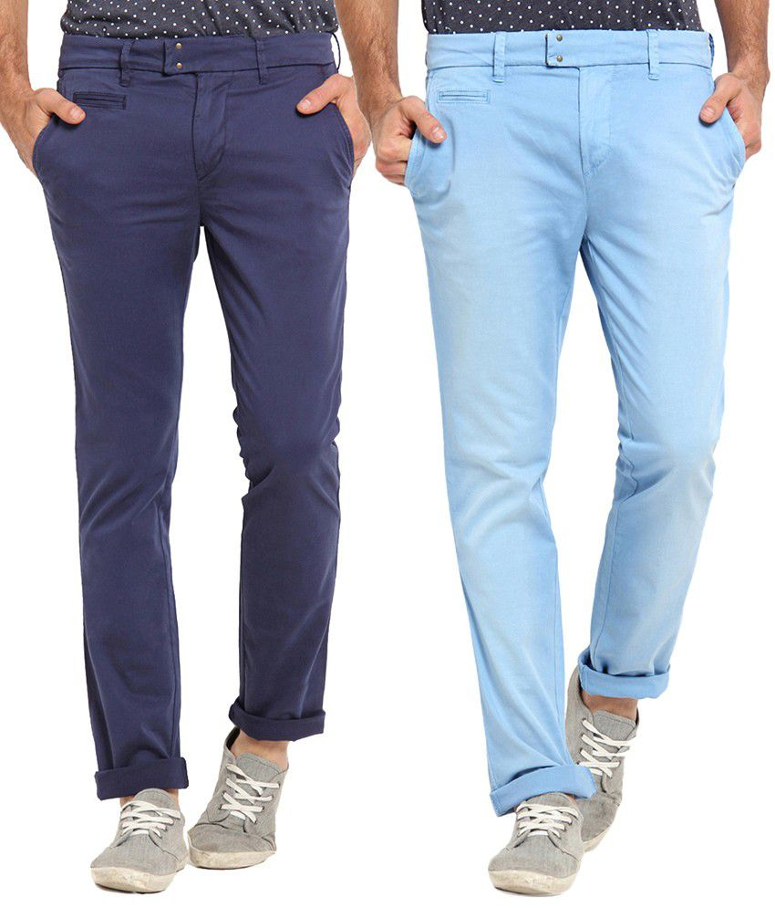 Offline Cotton Blue Casual Slim Chinos (Pack of 2)