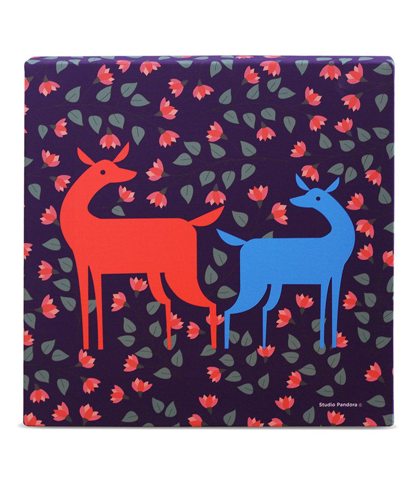 Studio Pandora Purple Deer Painting (Frame - Canvas)