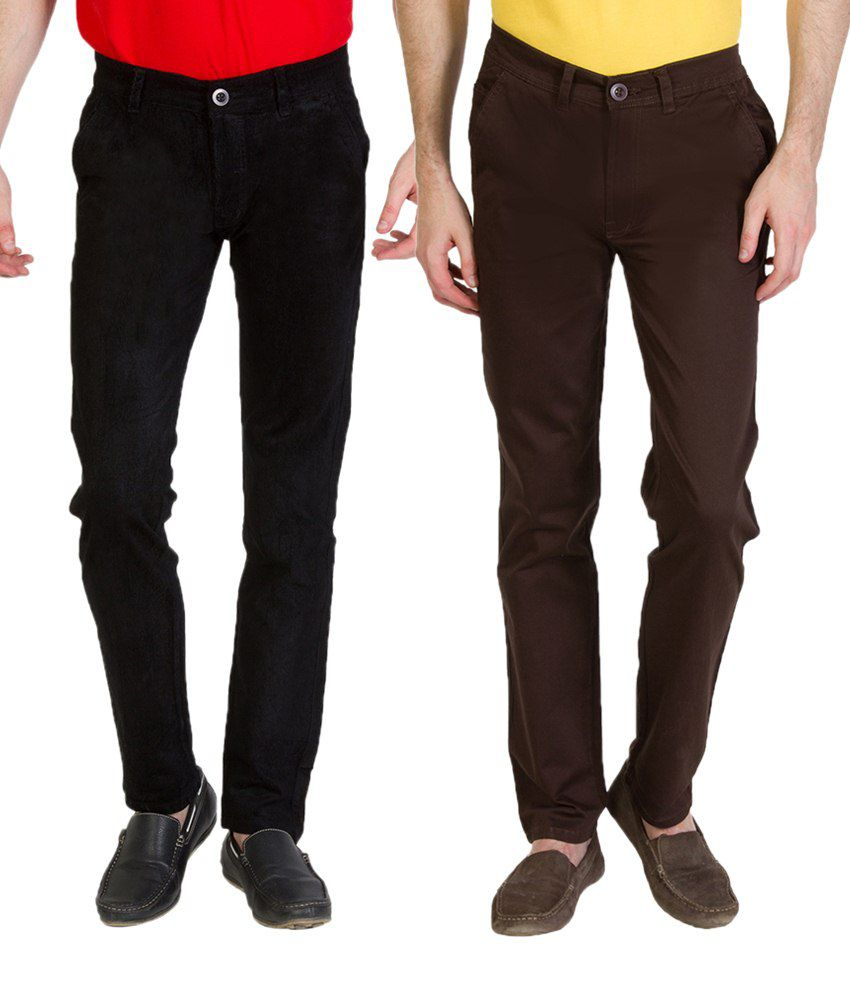 Bloos Jeans Combo Of 2 Black & Beige Chinos For Men