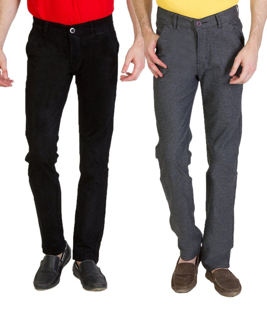 Bloos Jeans Sober Combo Of Black Chinos & Gray Trousers For Men