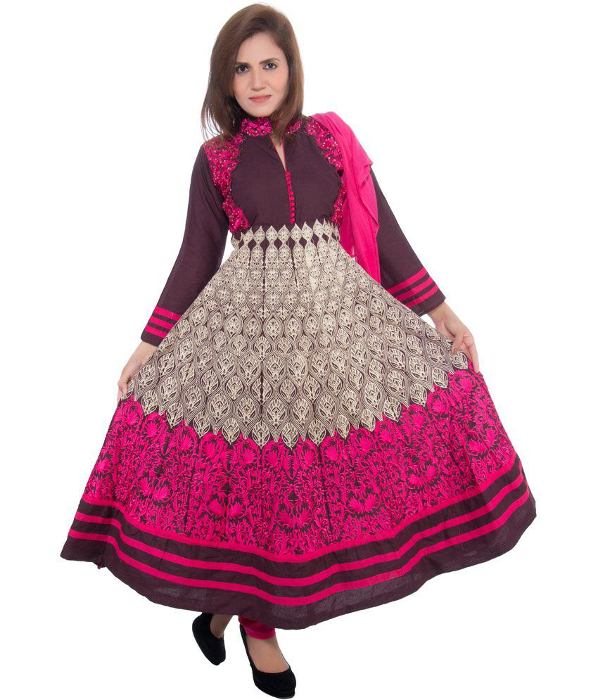Cizara Purple Cotton Kashmiri Work Anarkali Salwar Suit