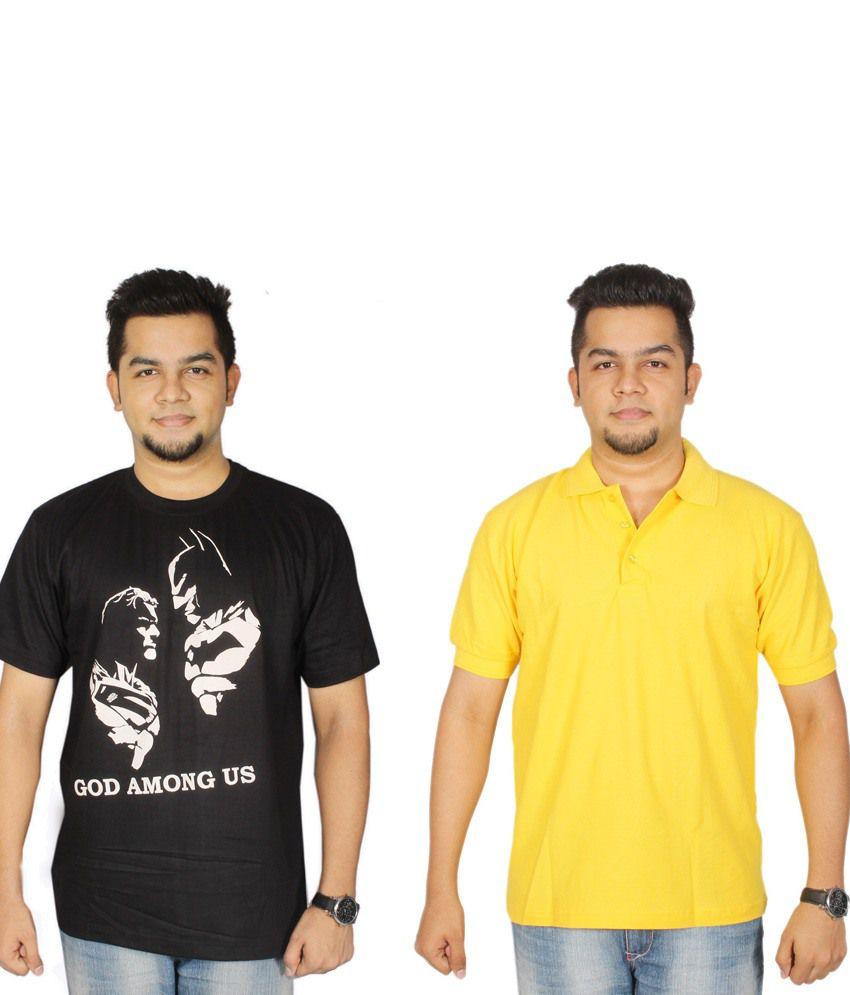 Leo Clothing Cotton Round Neck Batman, Superman & Plain T-Shirts - Pack Of 2