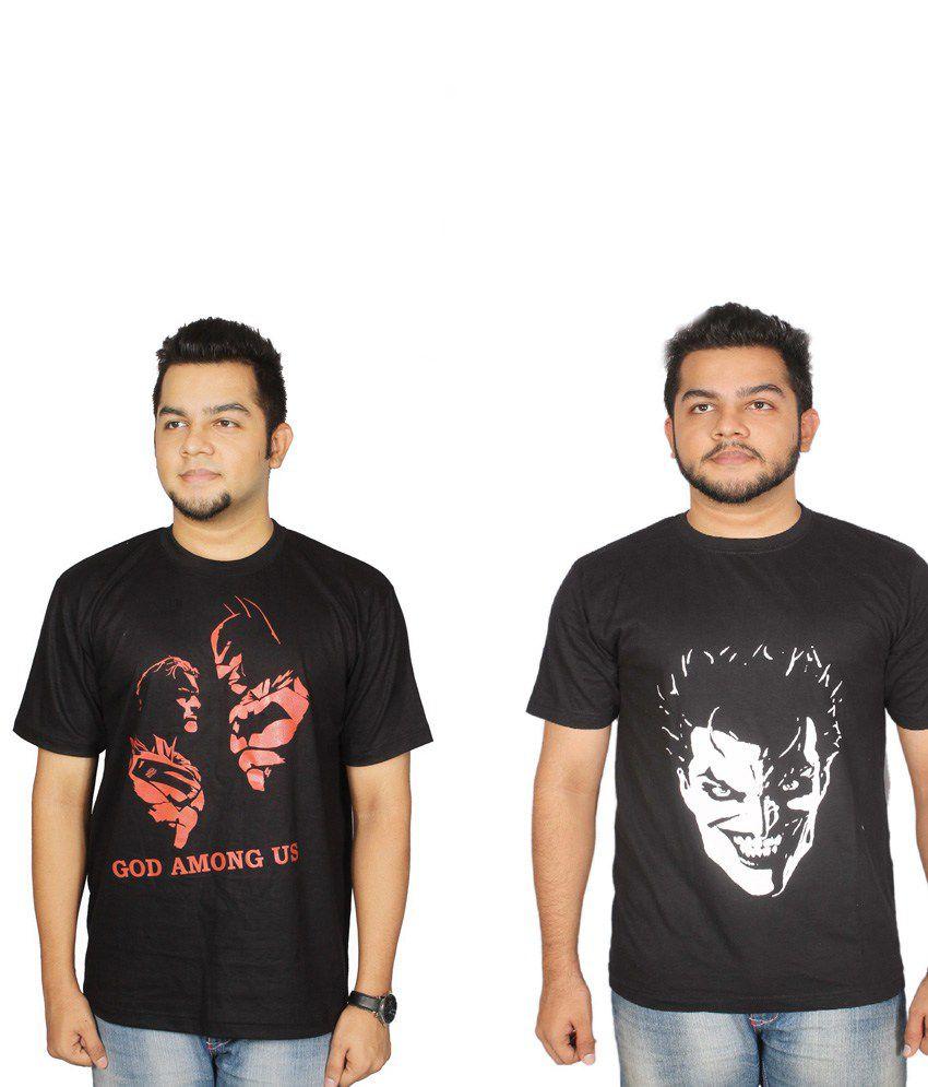 Leo Clothing Cotton Round Neck Batman VS Superman & Full Joker T-Shirts - Pack Of 2