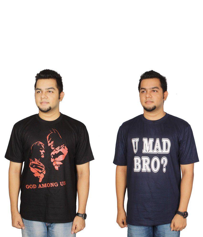 Leo Clothing Cotton Round Neck Batman VS Superman & Mad Bro T-Shirts - Pack Of 2