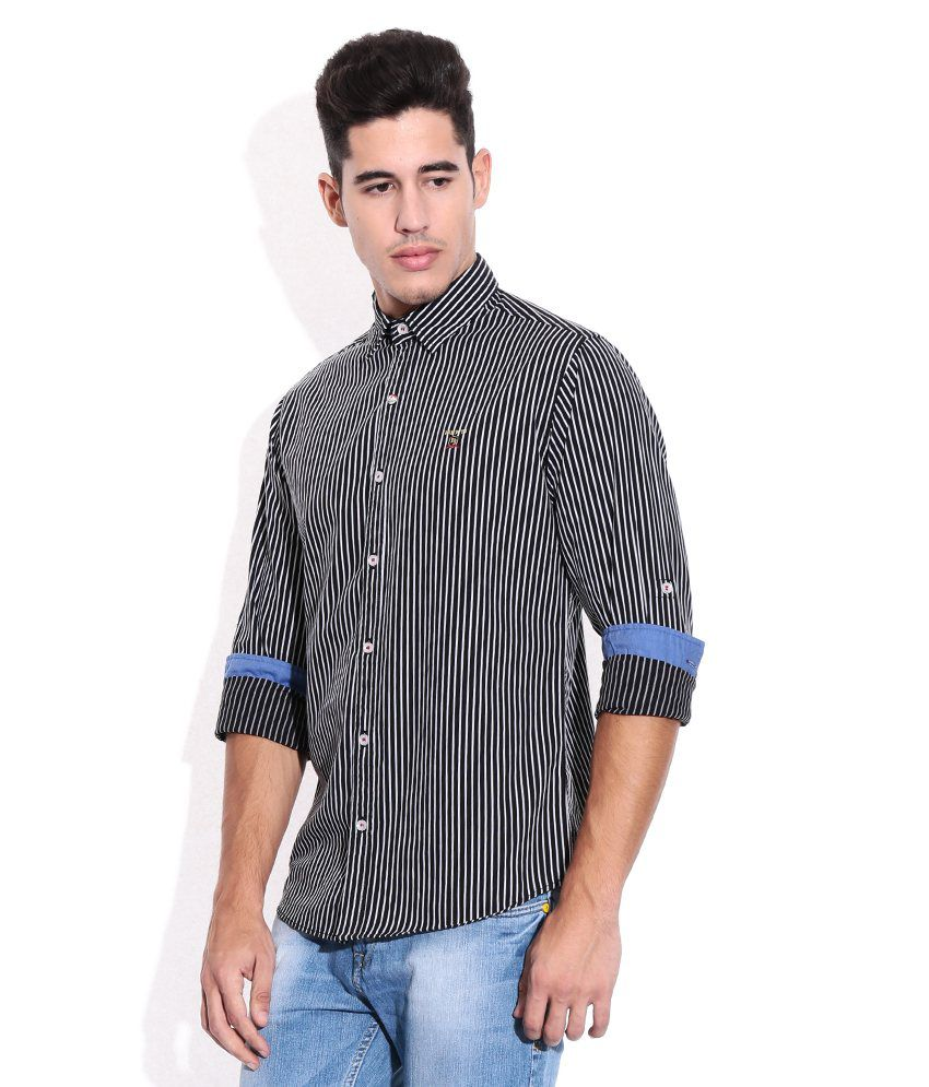 95362b34 Mufti Black Vertical Striped Shirt - Buy Mufti Black Vertical ...