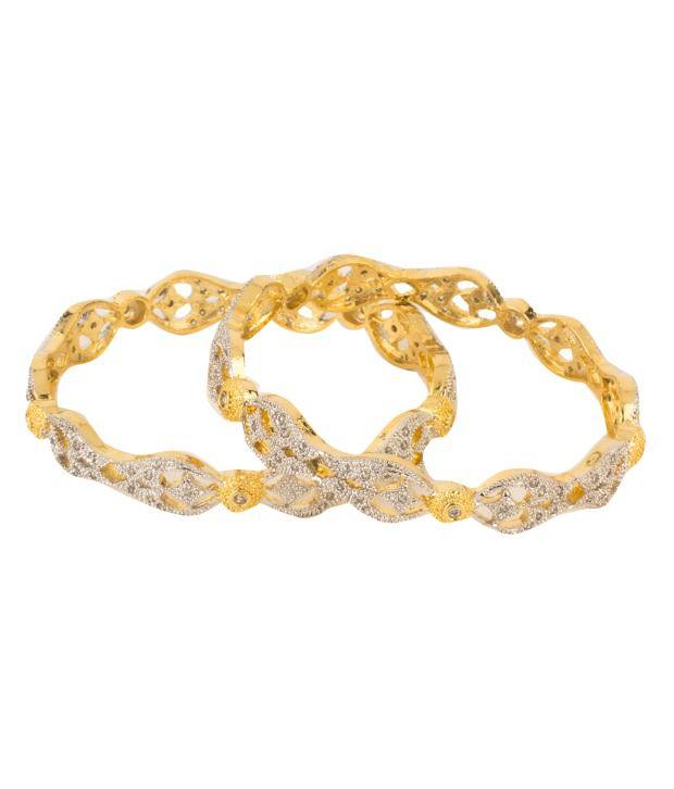 Natraj Art Multicolour American Diamond Brass & Copper Bangle Set