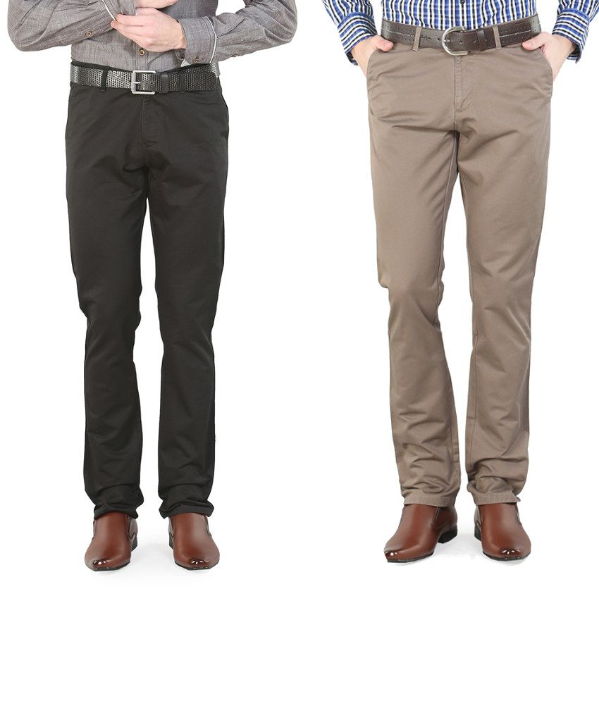 Platinum League Combo Of Beige And Black Trousers