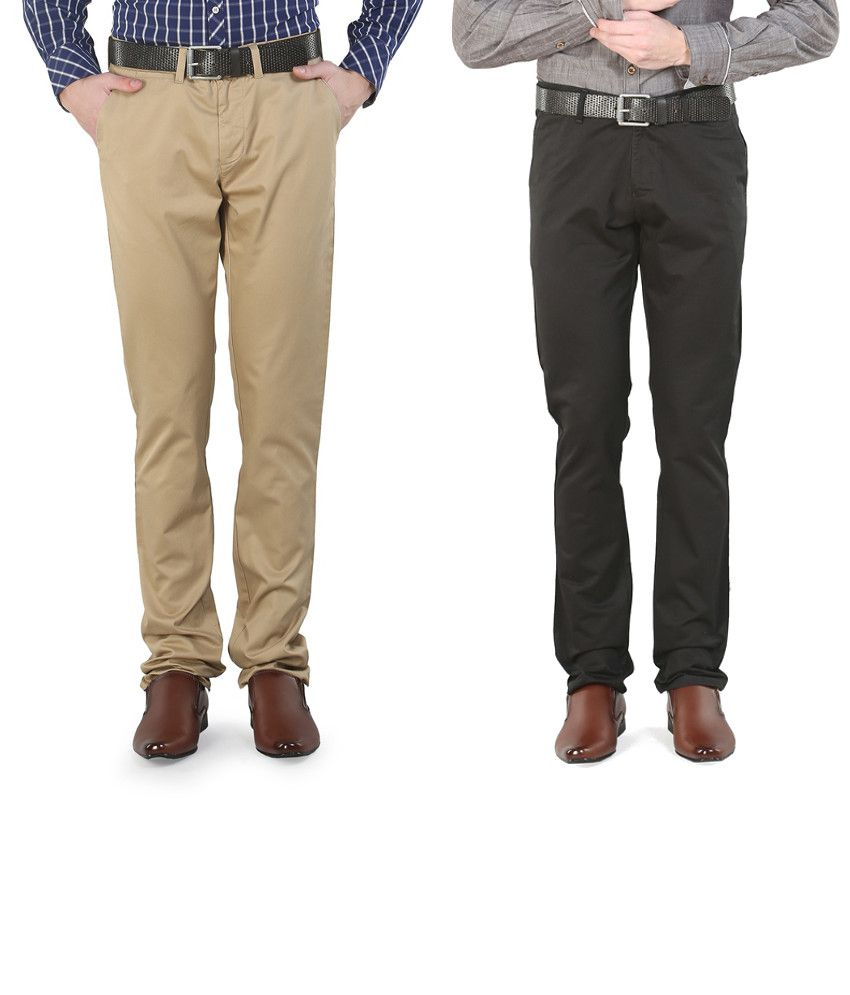 Platinum League Combo Of Black And Beige Trousers
