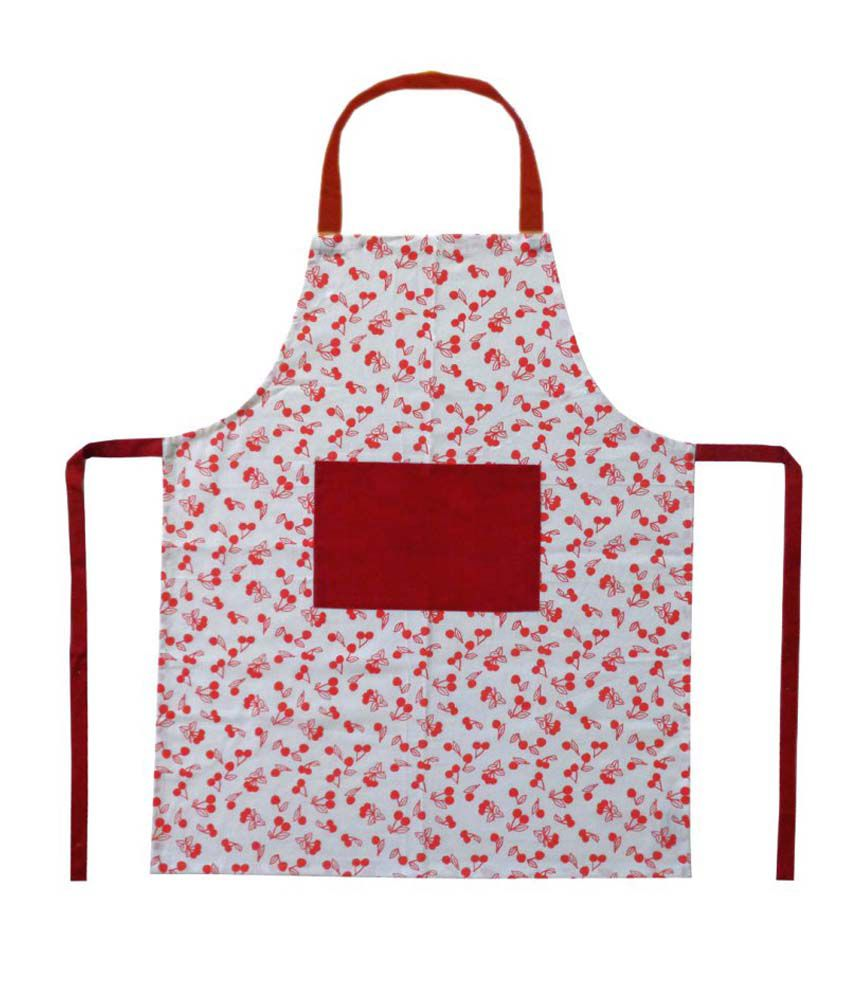 Cotonex Red Cotton Printed Kitchen Apron