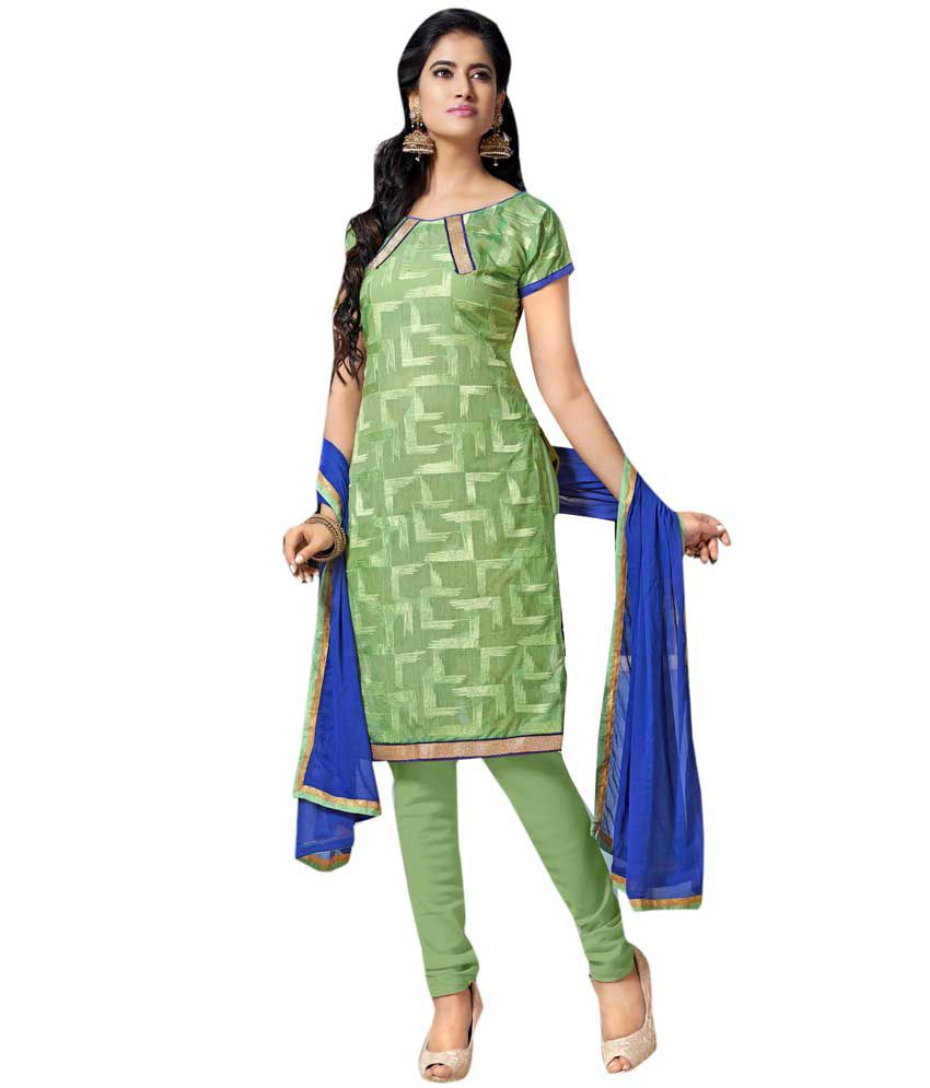 EthnicBasket Green Chanderi Stitched Suit