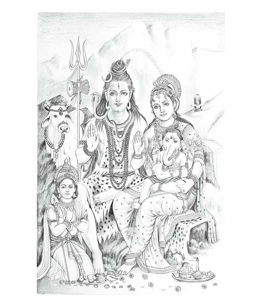 Painting mantra matte shiv parivar canvas poster