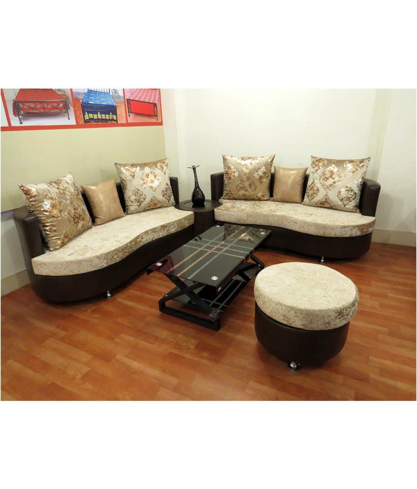 Corner Sofa Set Price In Hyderabad: Virgo 6 Seater Sofa Set (3+3) With Ottoman