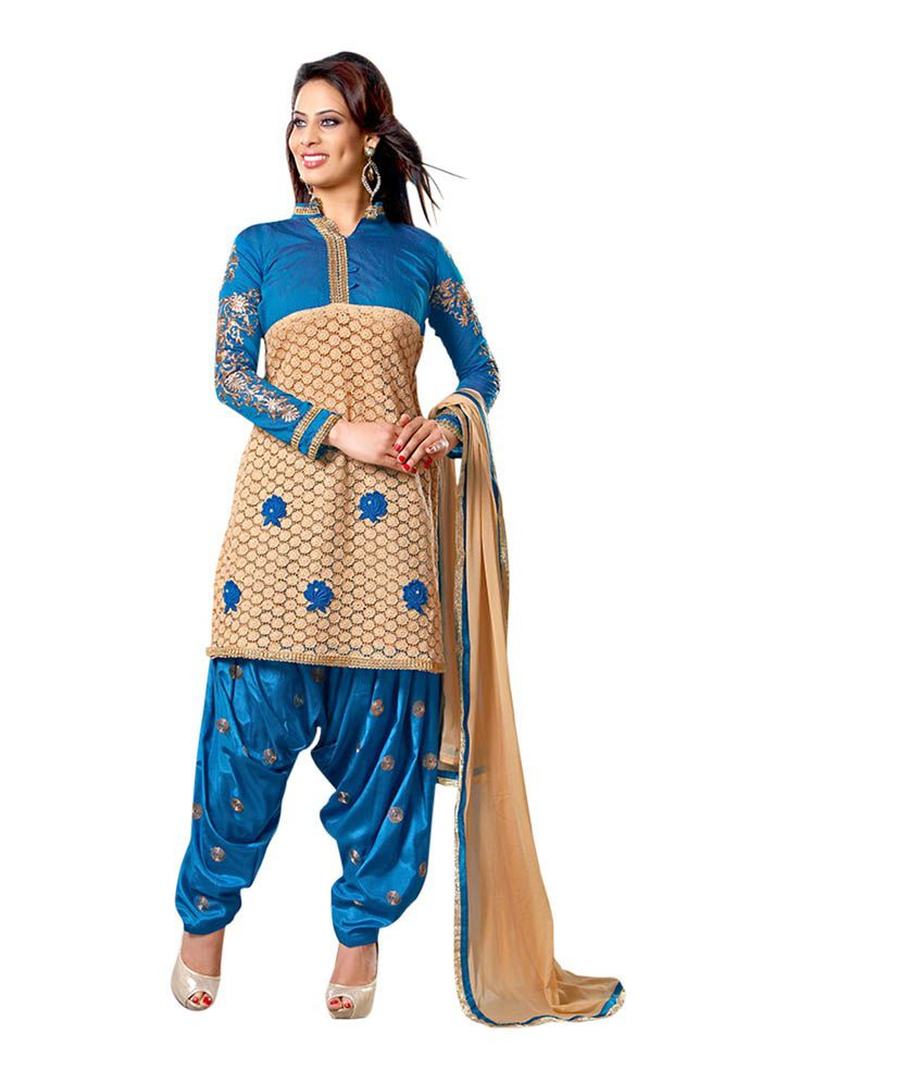 Zabme Blue Chanderi Semi-Stitched Suit