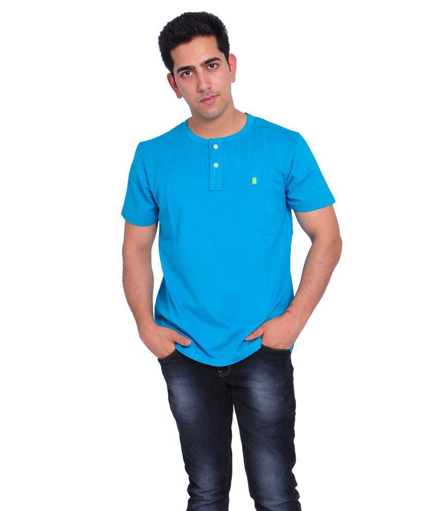 Villagsio Blue Cotton Round Half Sleeves T-shirt
