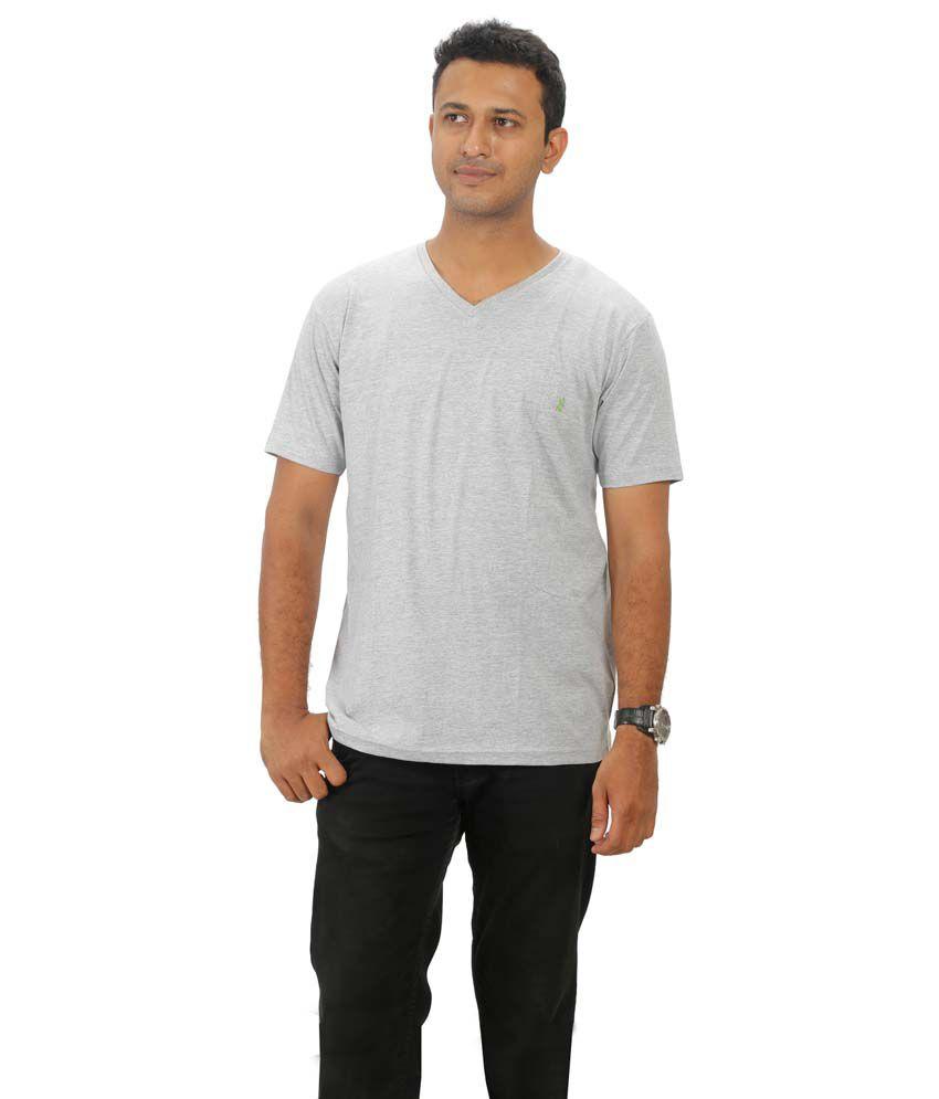 Villagsio Gray Cotton V-neck Half Sleeves T-shirt