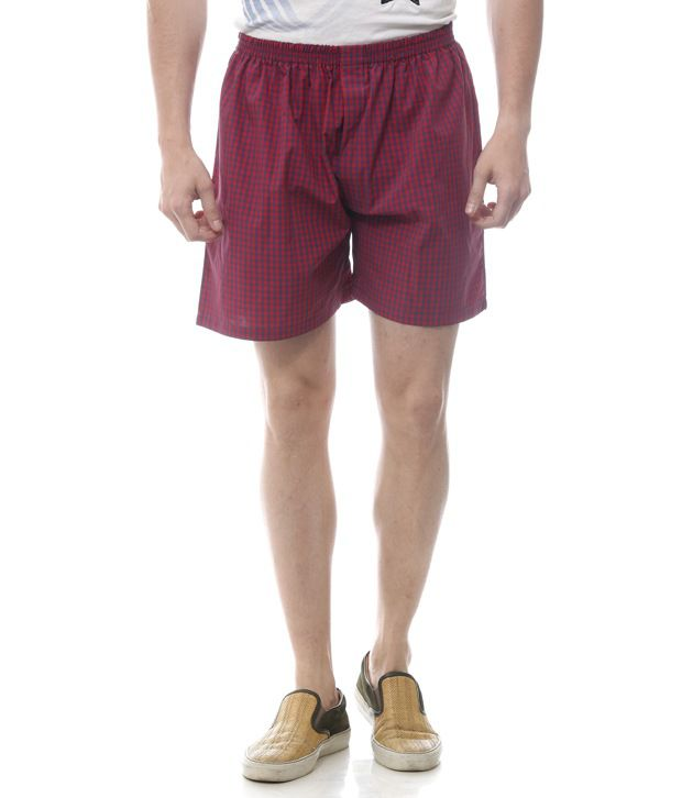 Yuvi Red Cotton Checked Shorts