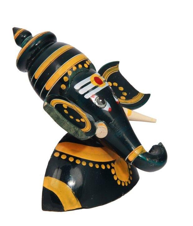 Adaa Green Wooden Ganesha Idol