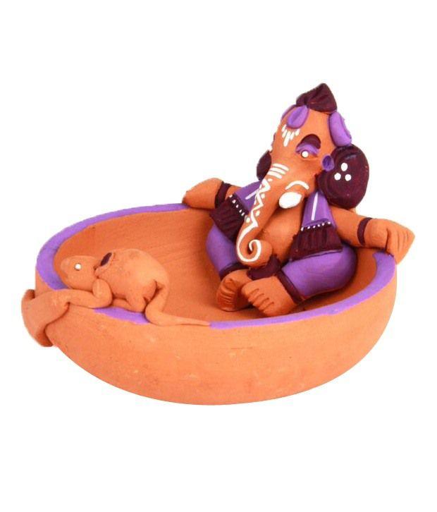 Adaa Purple Terracotta Ganesha Idol