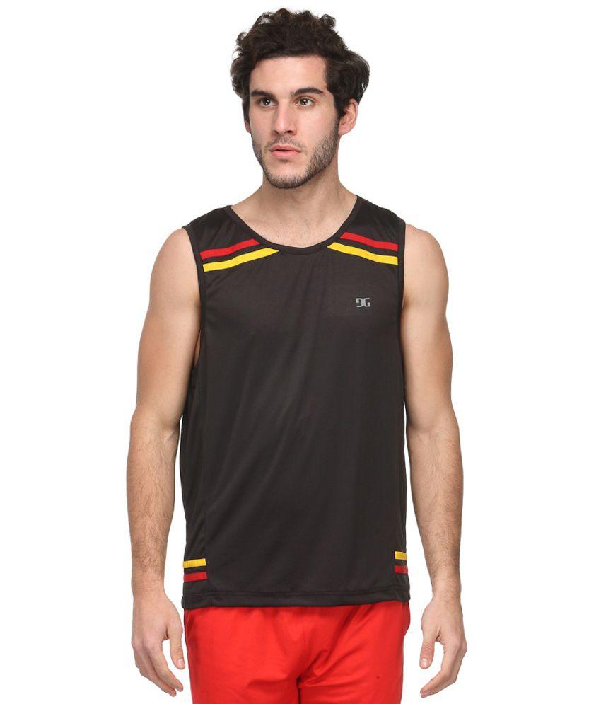 Dazzgear Black Polyester Round Neck Sleeveless T-Shirt
