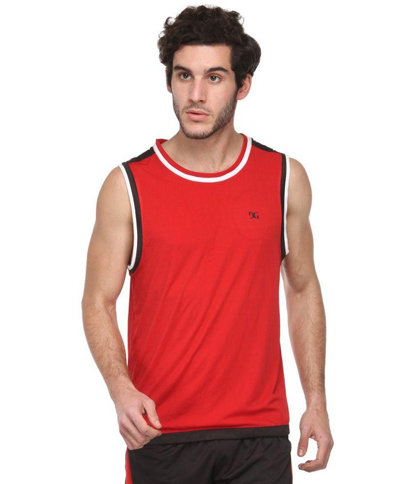 Dazzgear Red Polyester Round Neck Sleeveless T-Shirt