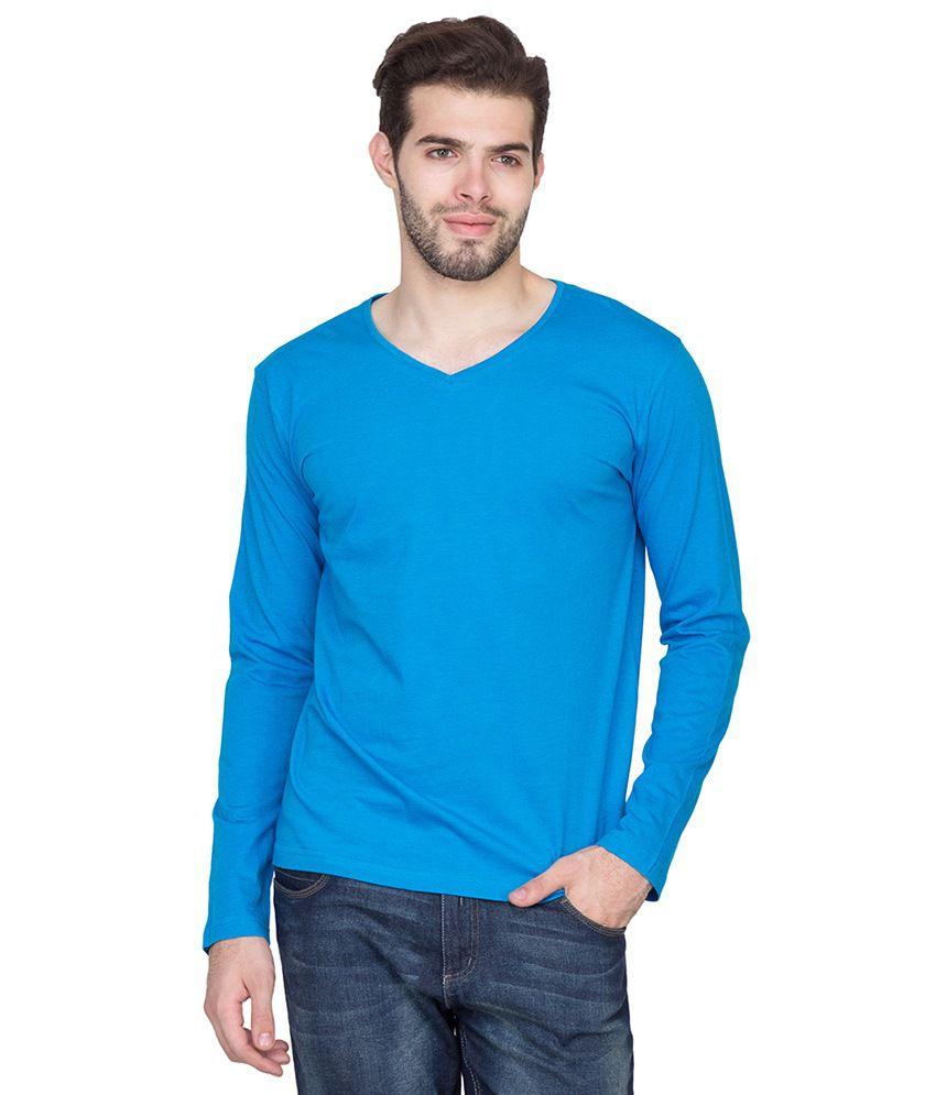 Fort Collins Blue Cotton Basics Half Sleeve V-Neck T-Shirt