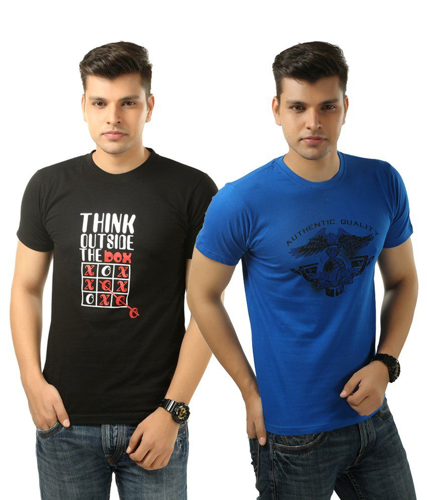 Posh 7 Appealing Combo Of 2 Blue & Black Half Sleeve Printed Round Neck T Shirts For Men
