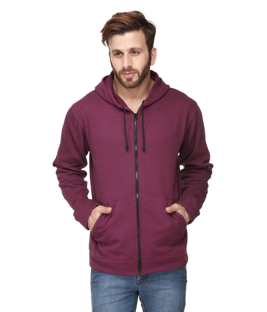 Scott International Purple Cotton Blend Solids Full Sleeve Hooded Sweater With Zip