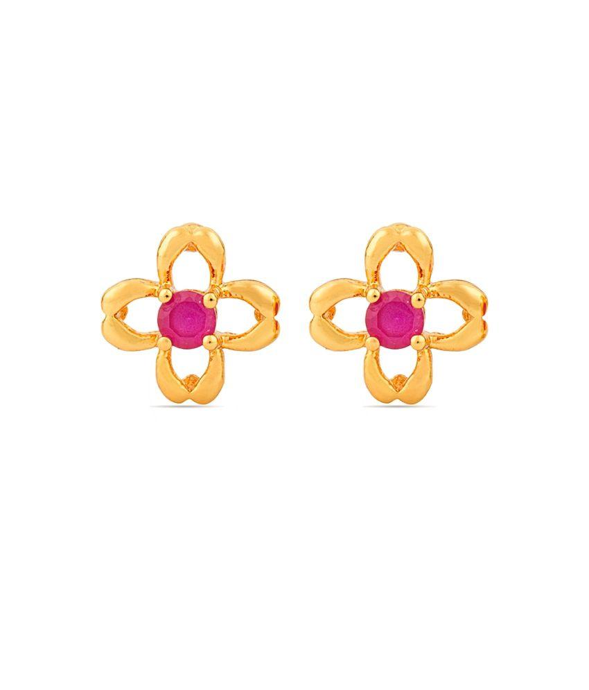 Voylla Vivacious Pink Flower Shape Stud Earrings