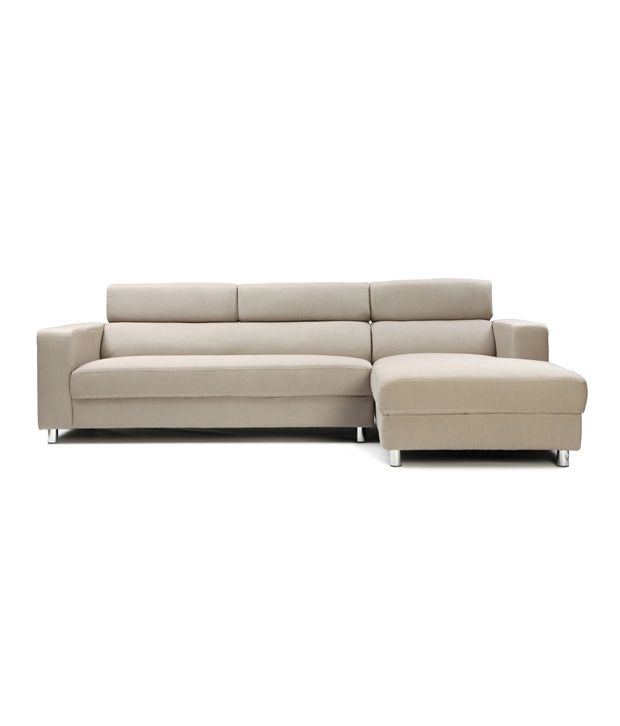 Furny Mini Cream L Shape Sofa With Right Side Lounger