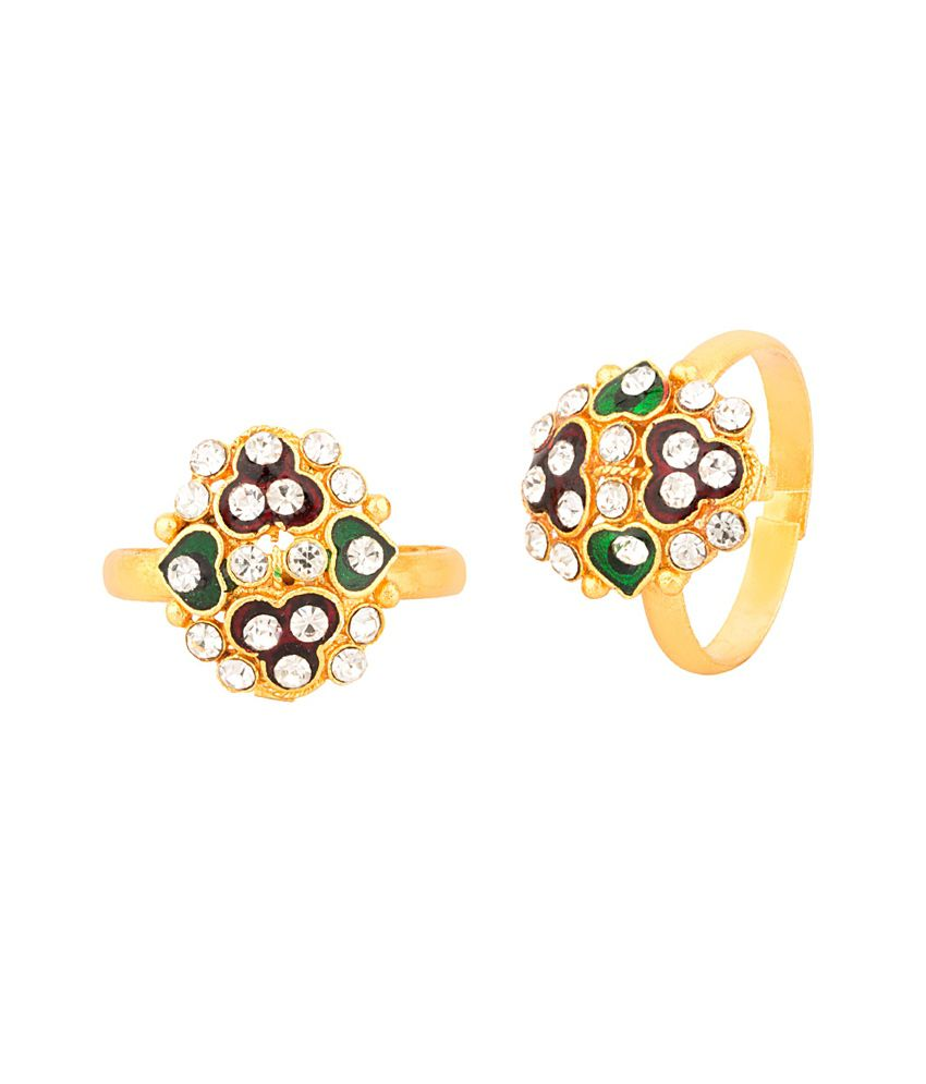 Voylla Pair Of Gold Plated Toe Rings Oval Flower