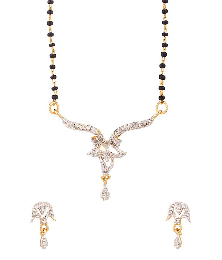 Voylla Single Chain Gold Tone Mangalsutra Set Dazzling Sparkle