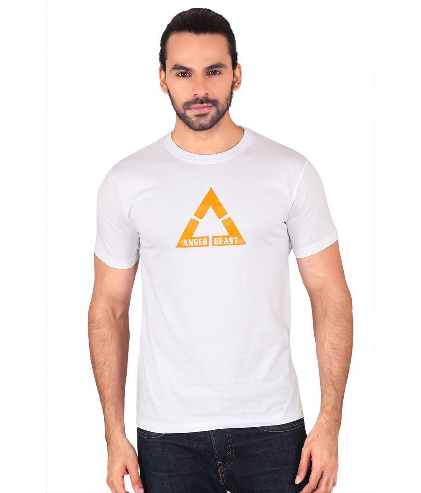 Anger Beast White Slim Fit Round Neck Half Sleeves T-Shirt