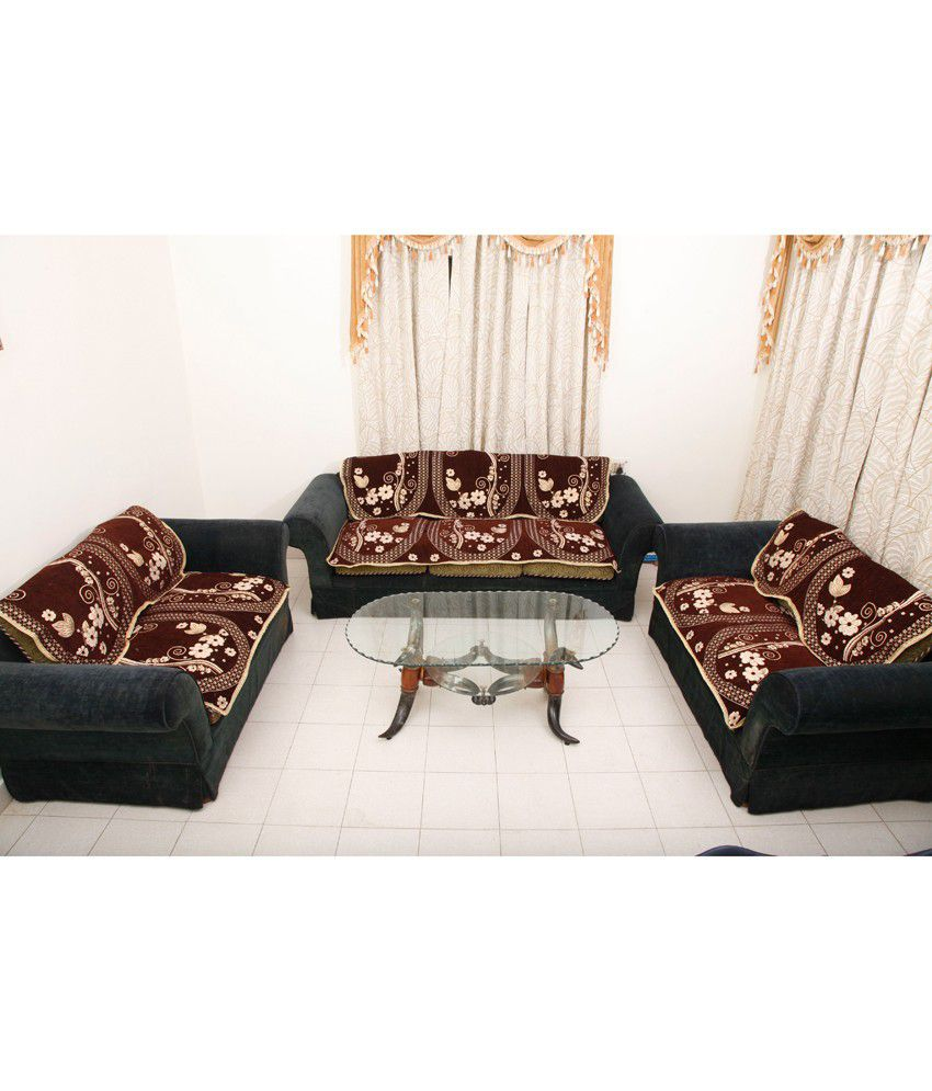Fk 7 seater velvet set of 14 sofa cover set buy fk 7 for Sofa 7 seater