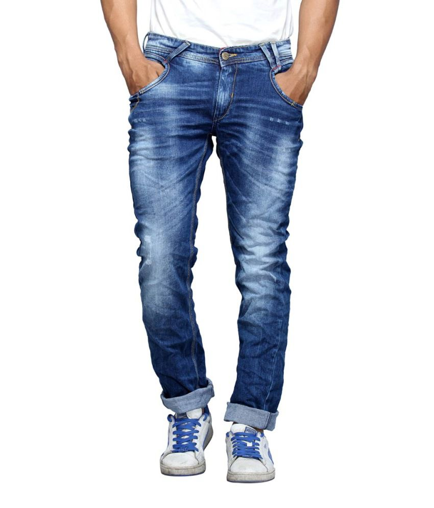 Spykar Blue Cotton Slim Fit Jeans