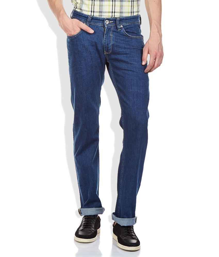 Spykar Blue Raw Denim Regular Fit Jeans