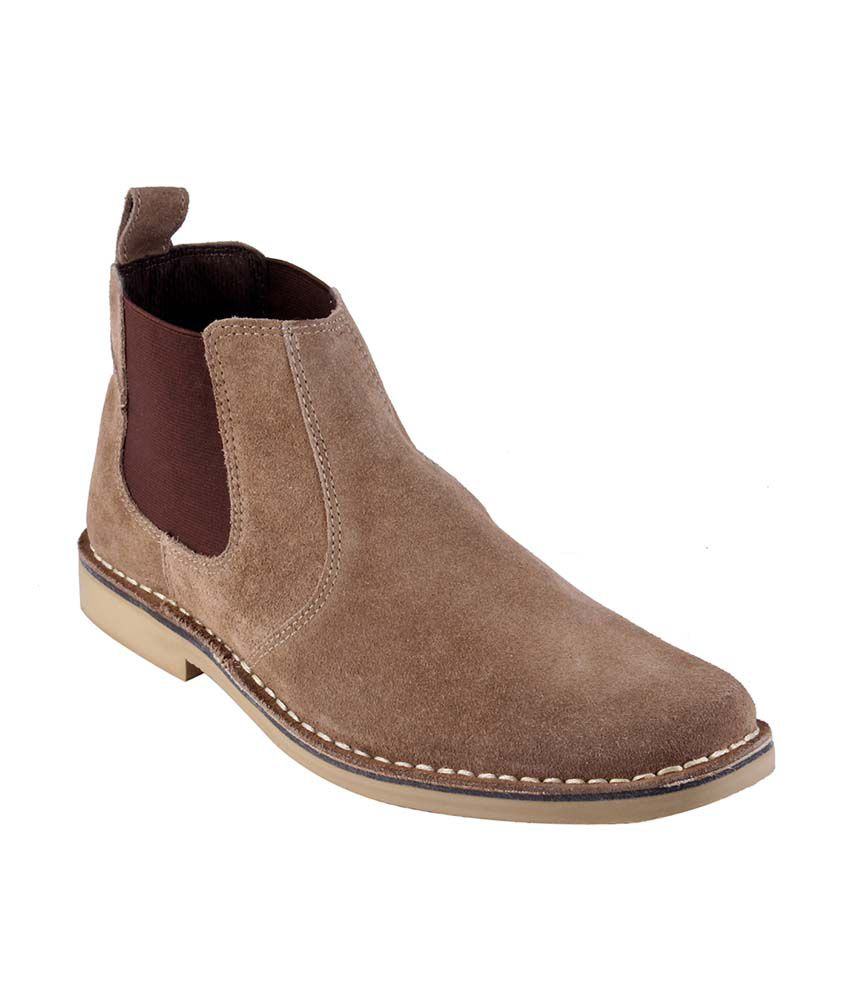 Urban Country Beige Leather Slip-On Men Boots